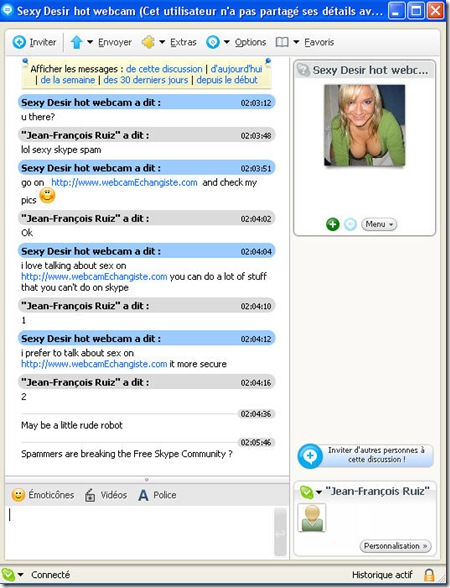 Skype Sexy Spam Robot by WebcamEchangiste-.com